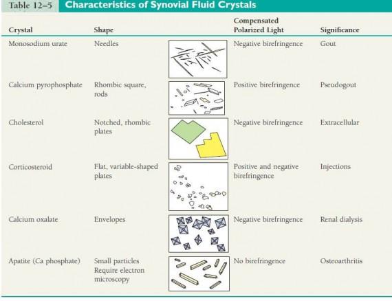 Characteristics of Synovial Fluid Crystals