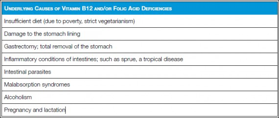 Causes of Vitamin b12 and-or Folic Acid Deficiencies